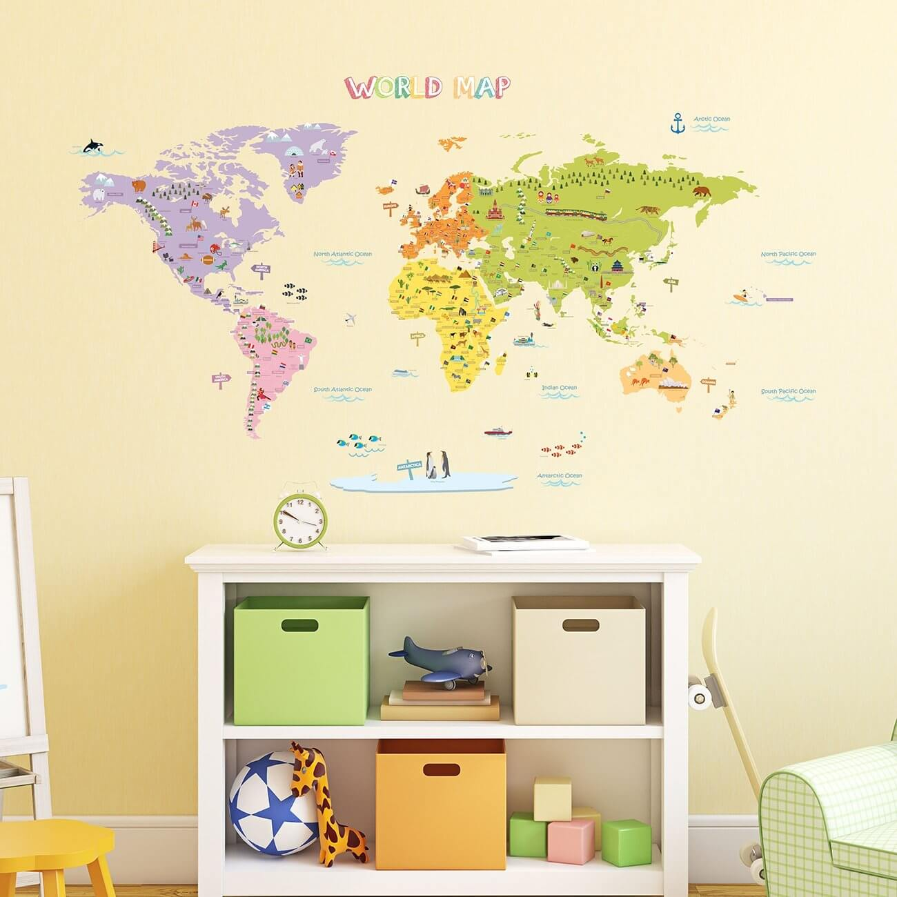 decowall kids world map