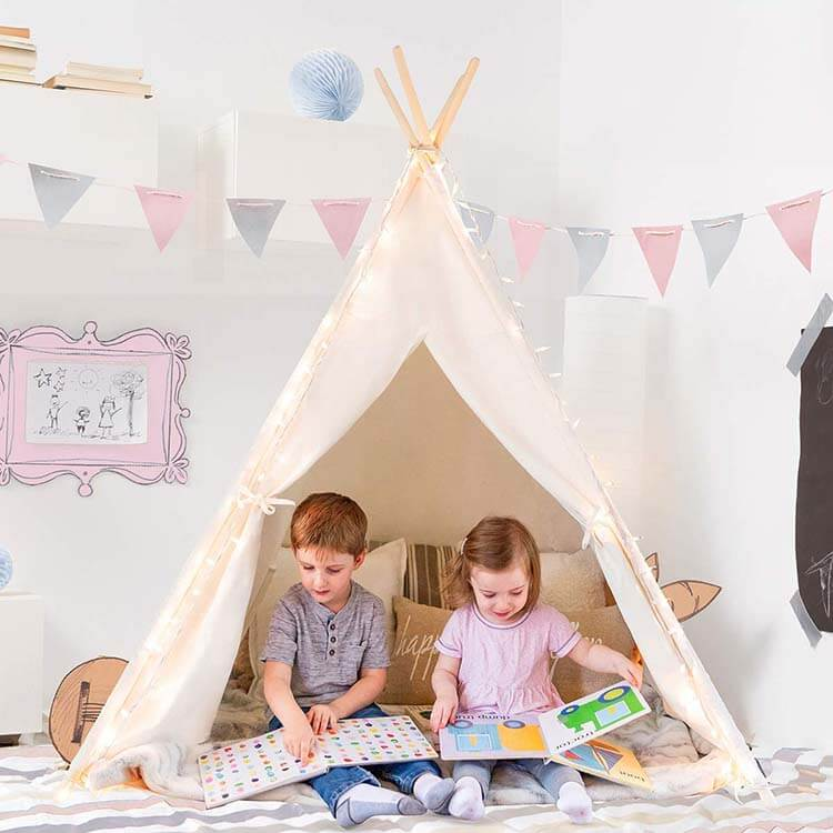 Tiny Land White Canvas Teepee Tent